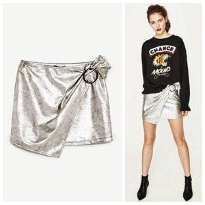 Zara Metallic Silver Wrap Buckle Skirt